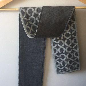 Coach silver metallic and grey wool scarf